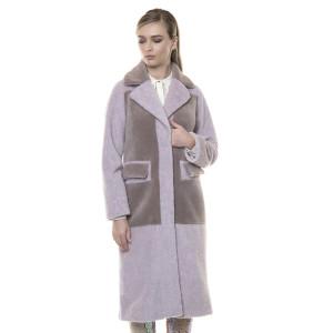 Palton blana naturala miel Australian si miel Merinos, blana tip lana, roz pudrat, 108cm