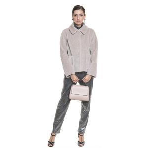 Jacheta dama din blana tip lana, miel Merinos, 62 cm, bej pastel