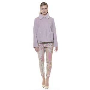 Jacheta blana naturala din miel Merinos, blana tip lana, culoare roz pudrat, 62cm