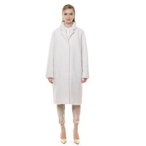 Palton blana naturala miel, blana tip lana, alb, 107cm