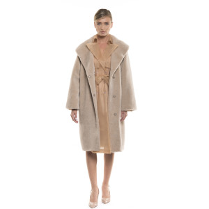 Palton dama de blană naturală de miel Pearl Australian, tip lână, bej pastel, 107 cm