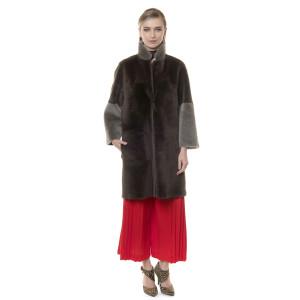 Palton blana naturala miel, reversibil, bej-maro, 90cm