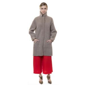 Palton blana naturala miel, reversibil, bej, 90cm