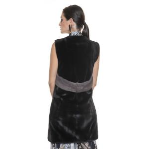 Vesta blana naturala vizon, 80 cm, neagra