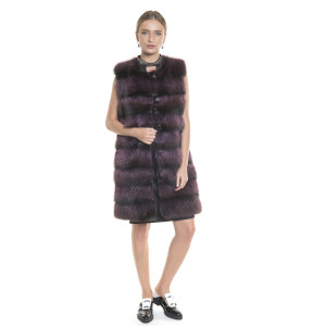 Vesta lunga blana naturala racoon