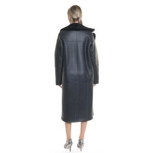 Palton reversibil blana naturala miel, tip cojoc, albastru indigo, 120 cm