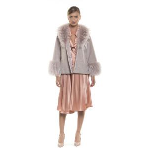 Jachetă  blană naturală de miel Merinos, tip lână, cu guler, Dusty Pink, 64 cm
