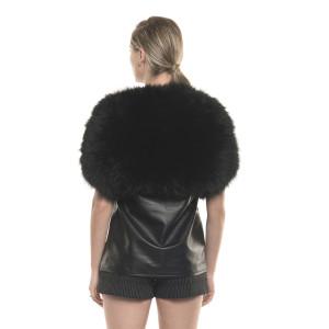 Capă elastica de blană naturală de vulpe neagră