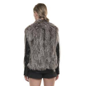 Jachetă de blană naturală de vulpe, cu mâneci de piele, negre, argintie