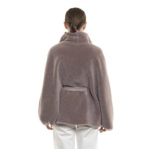 Jachetă tip capa din blană naturală de miel Merinos, blana tip lână, roz pudrat, 70 cm