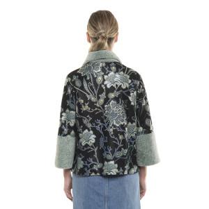 Jacheta blană naturala miel, cu piele naturală, pictată cu model floral, 65 cm