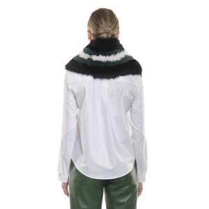 Guler captusit de blană naturală de vulpe verde și alb