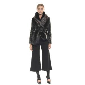 Jachetă de blană naturală de orylag, tip sacou cu mâneci piele, neagră