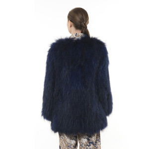 Jachetă de blană naturală de raton, blue royal, 65 cm