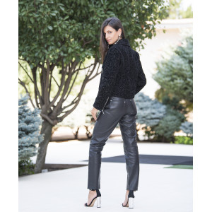 Jacheta scurta din stofa de lana cu insertii de blana vizon negru