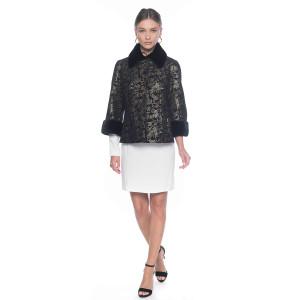 Jacheta piele naturala pictata cu guler si mansete din blana naturala vizon, culoare neagra