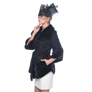 Haina blana naturala  de caracul Persian cu mansete si garnitura de vizon, culoare neagra, 80cm