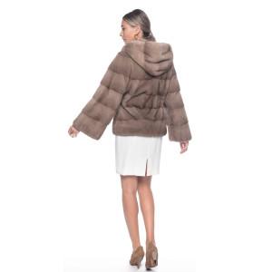 Jacheta blana naturala vizon/nurca, cu cordon si gluga, bej pastel, 65 cm