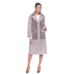 Palton blana naturala tip lana miel Australian, 108 cm, roz pudrat