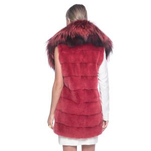 Vesta blana naturala vizon cu guler de blana de vulpe culoare rosu pudrat