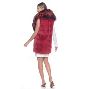 Vesta blana naturala vizon cu guler amplu de blana de vulpe, rosu pudrat