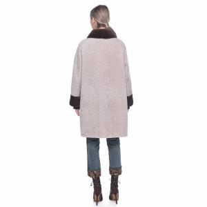Palton din blana tip lana din merinos bej cu guler de vizon maro