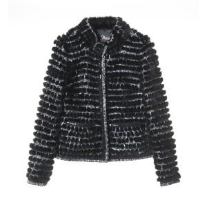 Jacheta scurta din stofa cu insertii de blana vizon negru
