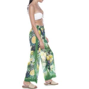 Pantaloni lungi Sweet Lemonade, bordura verde, voal transparent