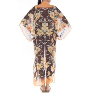 Kimono deschis Dancing Flowers, bordura portocalie, voal