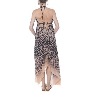Rochie asimetrica voal, imprimeu Feline Moves, bordura bej