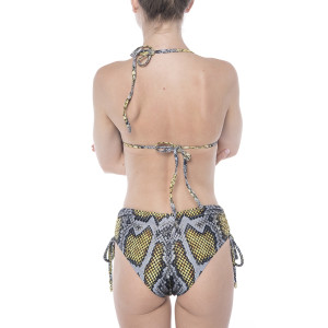 Costum baie 2 piese Yellow Dots Snake, sutien triunghi push-up, slip brazilian talie medie reglabil cu snur