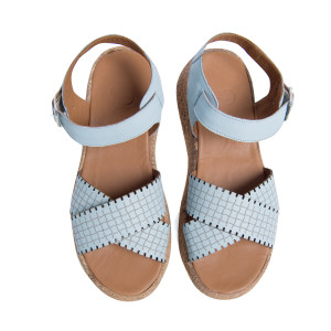 Sandale plaja barete Bleu, piele naturala 100%