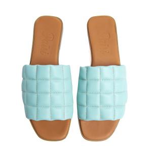 Papuci cusaturi geometrice Aqua, piele naturala 100%