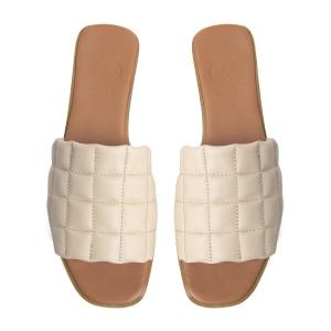 Papuci cusaturi geometrice Beige, piele naturala 100%