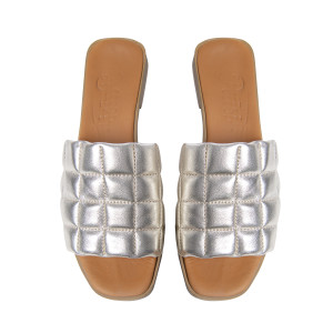 Papuci cusaturi geometrice Gold, piele naturala 100%