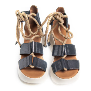 Sandale platforma Dark Blue Sidef, prindere in snururi, piele naturala 100%