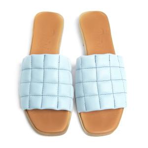 Papuci cusaturi geometrice Bleu, piele naturala 100%