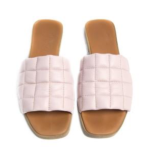 Papuci cusaturi geometrice Light Pink, piele naturala 100%