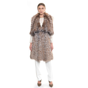 Vesta lunga de blana naturala vulpe crystal gray cu gulere ample, 120cm