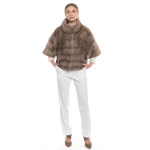 Jacheta blana naturala de vizon, 55cm, culoare bej Pastel