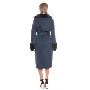 Palton dublu casmir si lana cu guler si mansete vizon, albastru