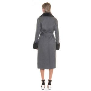 Palton dublu casmir si lana cu guler si mansete vizon, gri