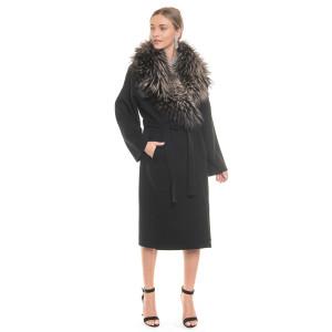Palton dublu casmir si lana cu guler amplu de vulpe silver gray, negru
