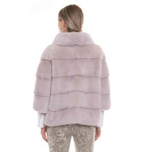 Jacheta blana naturala vizon, 60cm, roz pudrat
