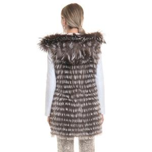 Vesta blana naturala vulpe cu gluga, silver gray, 90cm