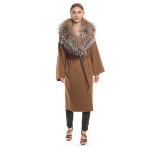 Palton dublu casmir si lana cu guler amplu blana vulpe crystal gray, culoare camel