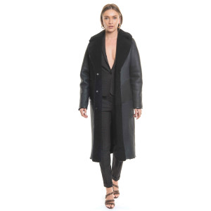 Reversible coat natural lamb fur, cojoc type, indigo blue, 120cm