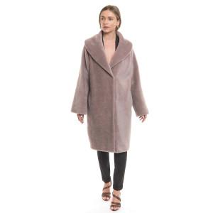 Palton dama de blana naturala miel Australian Pearl, blana tip lana, cu guler tip sal, culoare mov pal pudrat, 107cm
