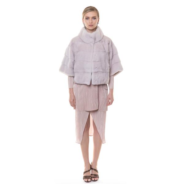 Jacheta blana naturala vizon/nurca culoare speciala nude, 50 cm