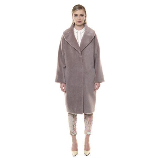 Palton blana naturala miel, blana tip lana, roz pudrat, 107cm